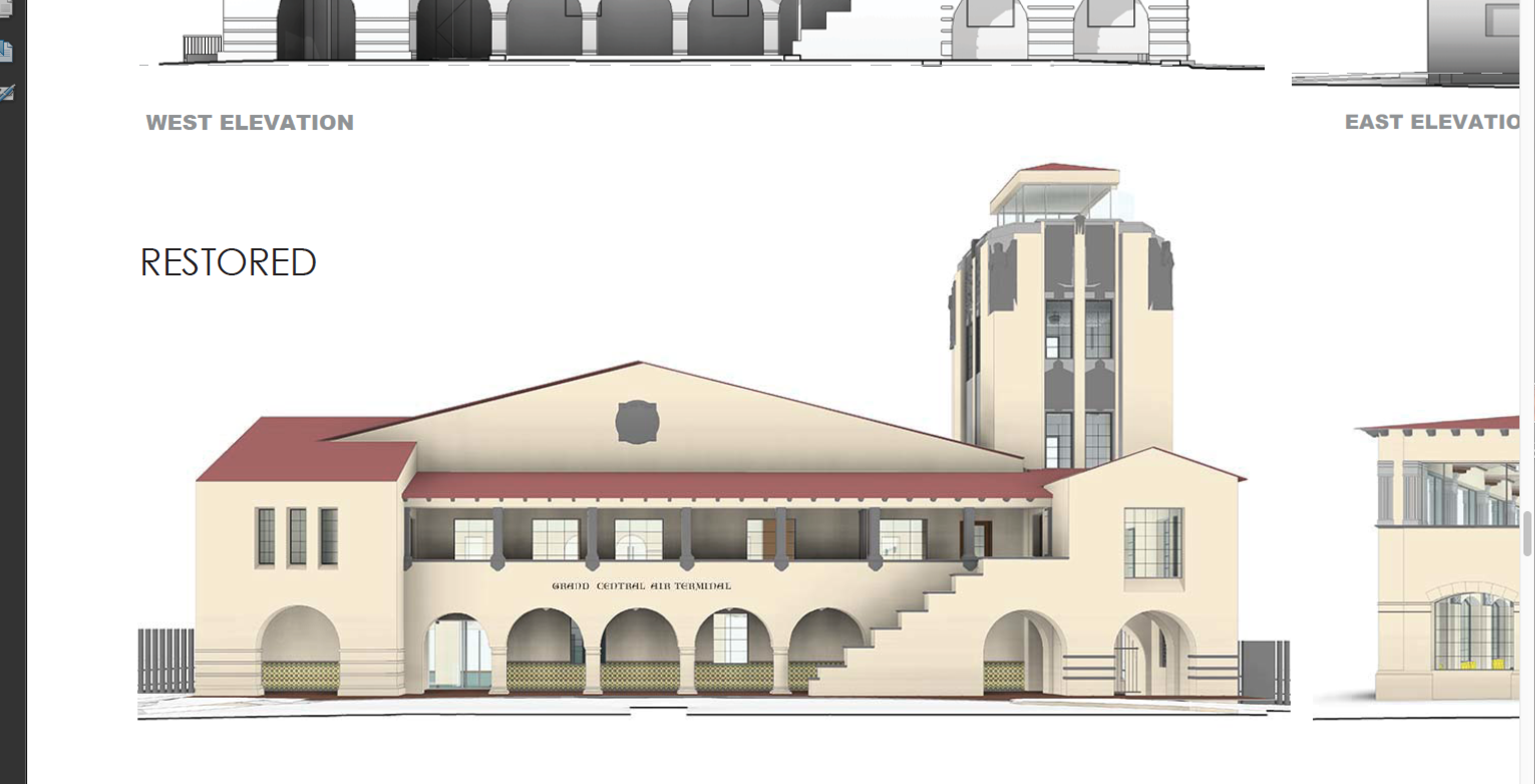 Architects' rendering of the west restoration